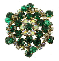 VINTAGE JULIANA LARGE EMERALD GREEN AB RHINESTONES DROP DANGLE BEADS BRO... - $87.74
