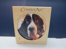 CounterArt Springer Spaniel- Round Coaster Gift Set With Wood Holder  - $10.99