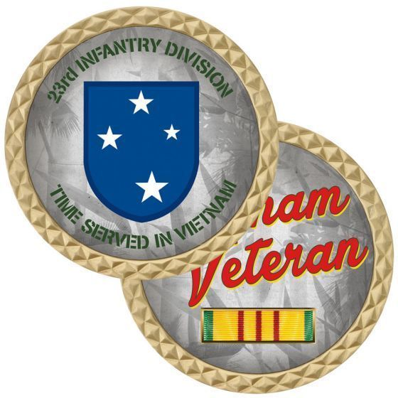 "ARMY 23RD INFANTRY DIVISION TIME SERVED VIETNAM VETERAN 1.75"" CHALLENGE COIN"
