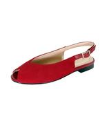 PEERAGE Kelsey Women Wide Width Peep Toe Comfort Suede Slingback  Flat - $54.95