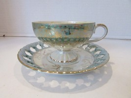 ROYAL CROWN CHINA 4660 TEACUP AND MATCHING SAUCER GREEN PEARLIZED PIERCE... - $14.80
