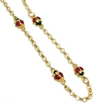 Bracelet Yellow Gold 18K 750, for Girl, 4 Ladybugs Enamel, Alternate, 17 CM image 2