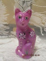 FENTON ART GLASS RASPBERRY STYLIZED CAT FIGURINE GSE LIMITED EDITION #2/15 - $199.00