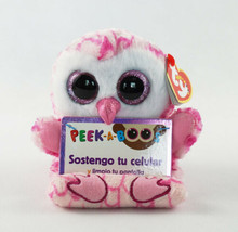 "6"" TY Peek-A-Boos Milly Owl Phone Holder Plush Stuffed Toy With Tag Glit... - £7.34 GBP"