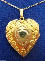 10K Yellow Gold Heart Locket with 14k Chain (#3042) - $256.50