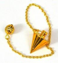 Healing Point Brass Pendulum Dowsing Chain Golden Overlay 40629 - $6.97