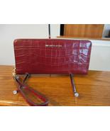 Michael Kors Travel Croco Leather Continental Zip Wallet Jet Set Brandy ... - $108.89
