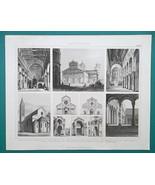 ARCHITECTURE Pisa Leaning Tower Venice Verona Modena - 1870 Engraving Print - $16.20