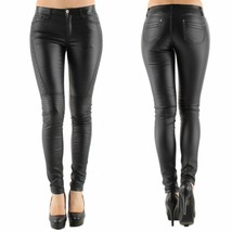 Womens Quality Black Leather Look Stretch Jeans Biker Goth Style UK 6 - 16 - $25.91