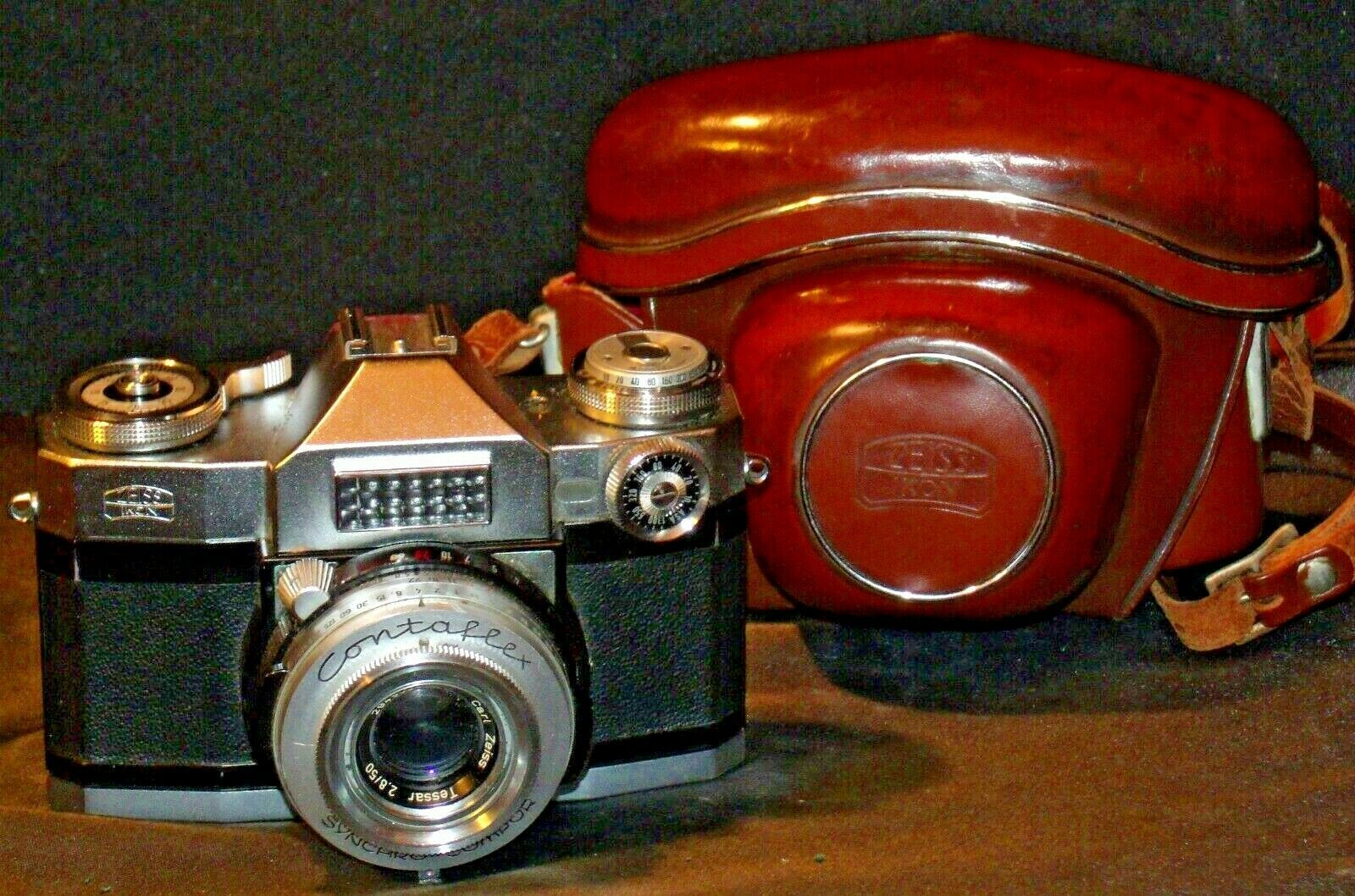 Zeiss Ikon Contaflex Super Camera with hard leather Case AA-192011 Vintage