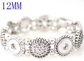 Antique Silver Stretch 12mm Petite 4 Snap Charm Bracelet For Ginger Snap... - £13.44 GBP