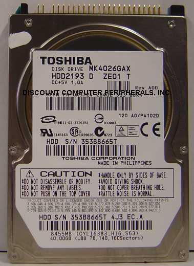 "NEW MK4026GAX Toshiba HDD2193 40GB 2.5"" 9.5MM IDE 44PIN Hard Drive Free USA Ship"