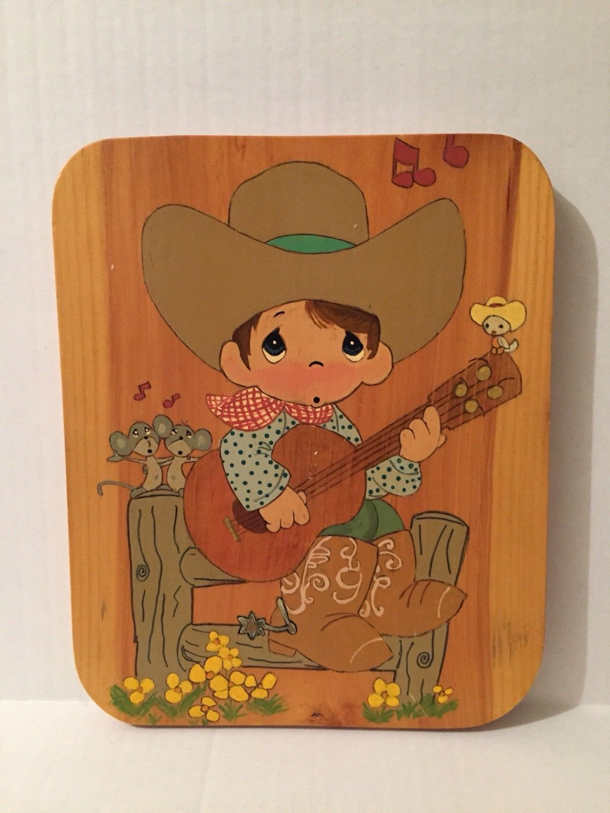 Precious Moments Cowboy Playing Guitar Wood Wall Hanging