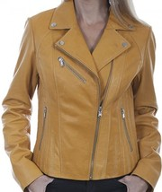 Lady BIKER Butterscotch Suede SOFT Naked LAMB Leather CLASSIC Motorcycle... - $169.99