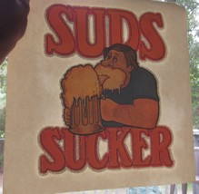 VTG 1970s SUDS SUCKER Beer Drunk Glitter T-shirt Iron On Heat Transfer - $12.78