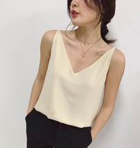Ladies Sleeveless Chiffon Top V-Neck Chiffon Tank Top Summer Casual Chiffon Top image 6