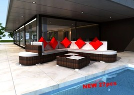 Patio Sectional Sofa Set Lounge Garden Furniture Clearance Rattan Outdoo... - $949.84