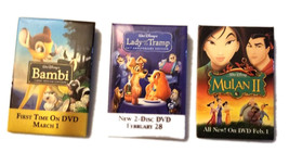 Disney Movie Set of (3) Promotional Pins * Bambi / Lady and the Tramp / ... - $4.88
