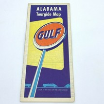 Vintage 1950s Gulf Oil Alabama Road Map Tourgide AL Gas Station BK5 - $9.95