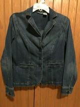 Women's St. Johns Bay Blue Stretch Jean Jacket / Blazer, Size Medium, - €17,12 EUR