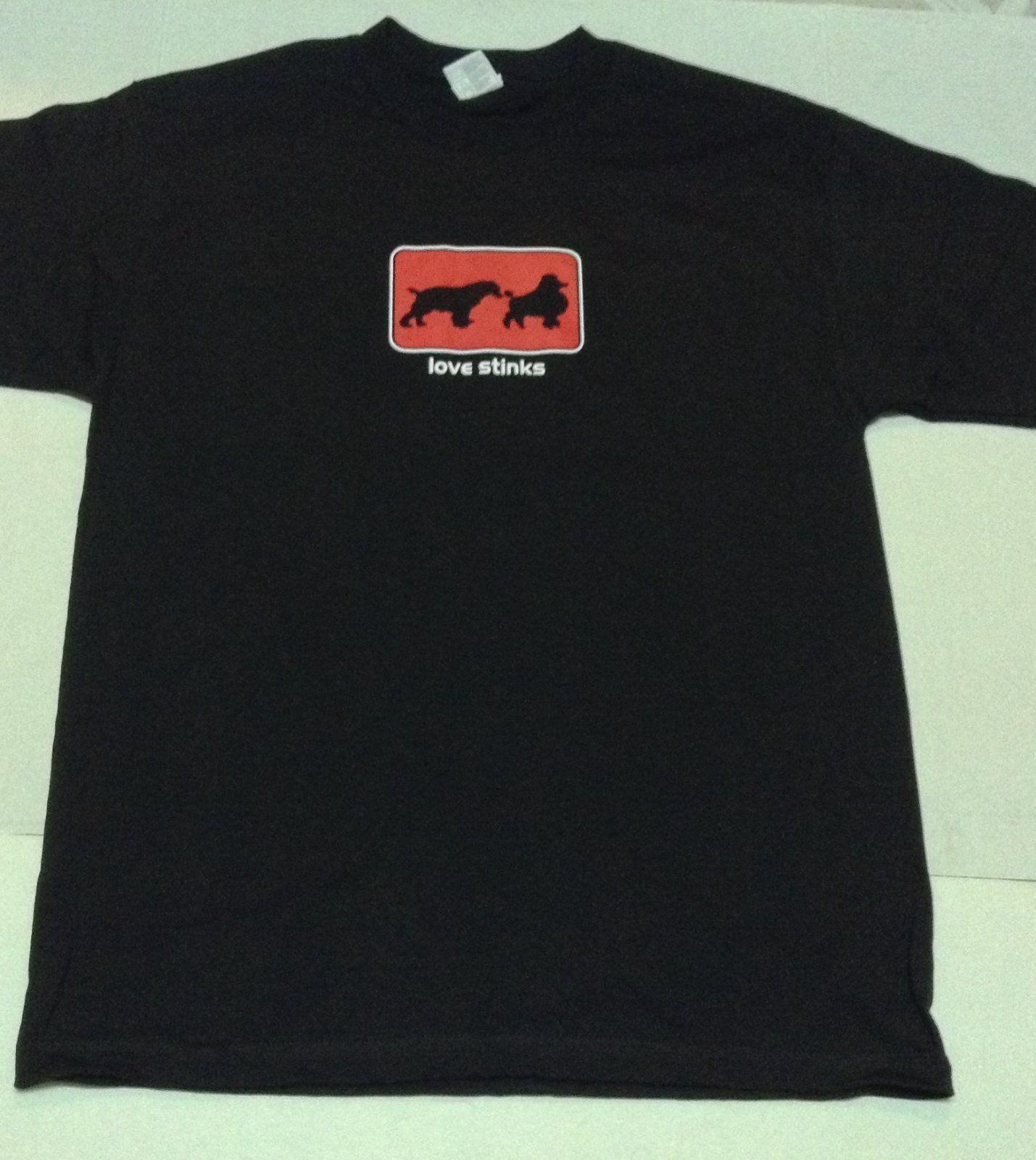 LOVE STINKS Black Short Sleeve TShirt NWOT Sz Adult Large