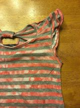 Miss Understood Girl's Pink & Gray Striped Cap Sleeve Shirt Size Small 2 Layer image 4