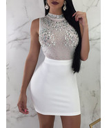 Mini Dress - Rhinestone Embellished Sleeveless Semi-Sheer - $23.00