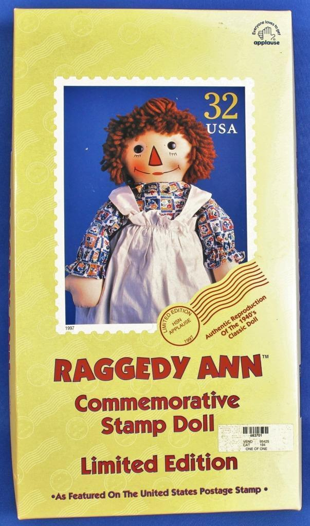 "Raggedy Ann Doll Commemorative Stamp 17"" Limited Edition 1997 Applause w/ Box image 3"