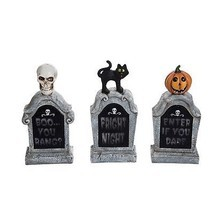 Halloween Light Up Tombstone Resin Figurine Outdoor Spooky Fall Decor Se... - €79,40 EUR