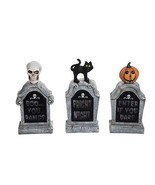 Halloween Light Up Tombstone Resin Figurine Outdoor Spooky Fall Decor Se... - $90.09