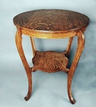 19th C Oak Circular Side Center End Lamp Game Table Coffee Antique Victo... - $1,149.14