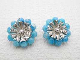 Vintage Coro Marbled Baby Blue Lucite Plastic Beads & Silver Tone Clip Earrings - $9.90