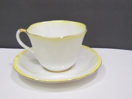 Royal Albert China Rainbow Teacup and Saucer Yellow Shelley Dainty Shape - $19.80
