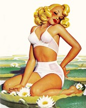 American Pinups: Film Fun - Blonde Girl Sitting On Lily Pad - Bolles - 1942 - $12.82+