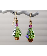 Swarovski Christmas Tree Earrings /Ice Blue/ One Of A Kind / Swarovski E... - $29.95+