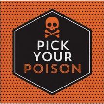 Pick Your Poison 16 Beverage Napkins Halloween Cocktail Skull Bones - $4.39