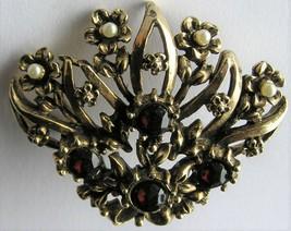 Vintage Dark Garnet Red Rhinestone Pin Flower Faux Pearl Brooch - $14.99