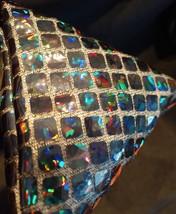 Pyramid Bag/Wristlet/Gift Bag - Black Hologram/Holographic shiny dots image 4