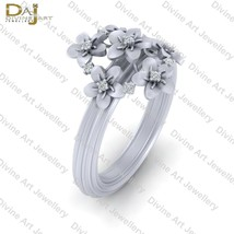 Diamond Flower Art Nouveau Wedding Ring Sterling Silver Flower Ring For ... - $91.99+
