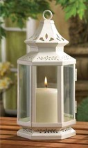 "White Victorian Candle Lantern 10"" high Metal - $19.22"