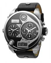 Diesel DZ7125 Mr Daddy Oversized Silver Black Dial Leather Band 56MM Men... - $165.03 CAD