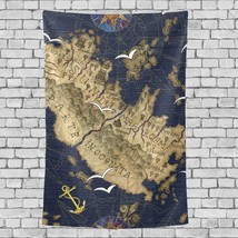 Curtain Tapestry Old Ancient Nautical Ship Anchor Campass Pattern Custom... - $26.00