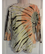 TRYST - Long Sleeve Tie Dye Top LARGE Classic Scoop Neck yellow brow ora... - $15.79