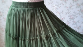 ARMY GREEN Layered Long Tulle Skirt Wedding Bridesmaid Tulle Skirt Plus Size image 8