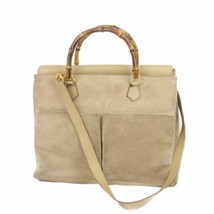 Auth GUCCI Shoulder Hand Bag Brown OLD Gucci Vintage Bamboo Suede Leathe... - $571.23