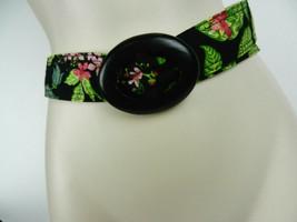 Vera Bradley Belt Black Green Floral Tropical Fabric Wooden Buckle Loop ... - £15.34 GBP