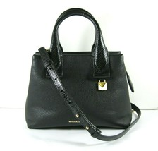 Michael Kors NEW Black Leather Crossbody Messenger Hand Bag Pebbled Gold X - $136.86
