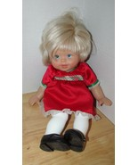 Fisher Price Baby Doll Little Mommy Blonde hair Blue Eyes Holiday party ... - $10.68
