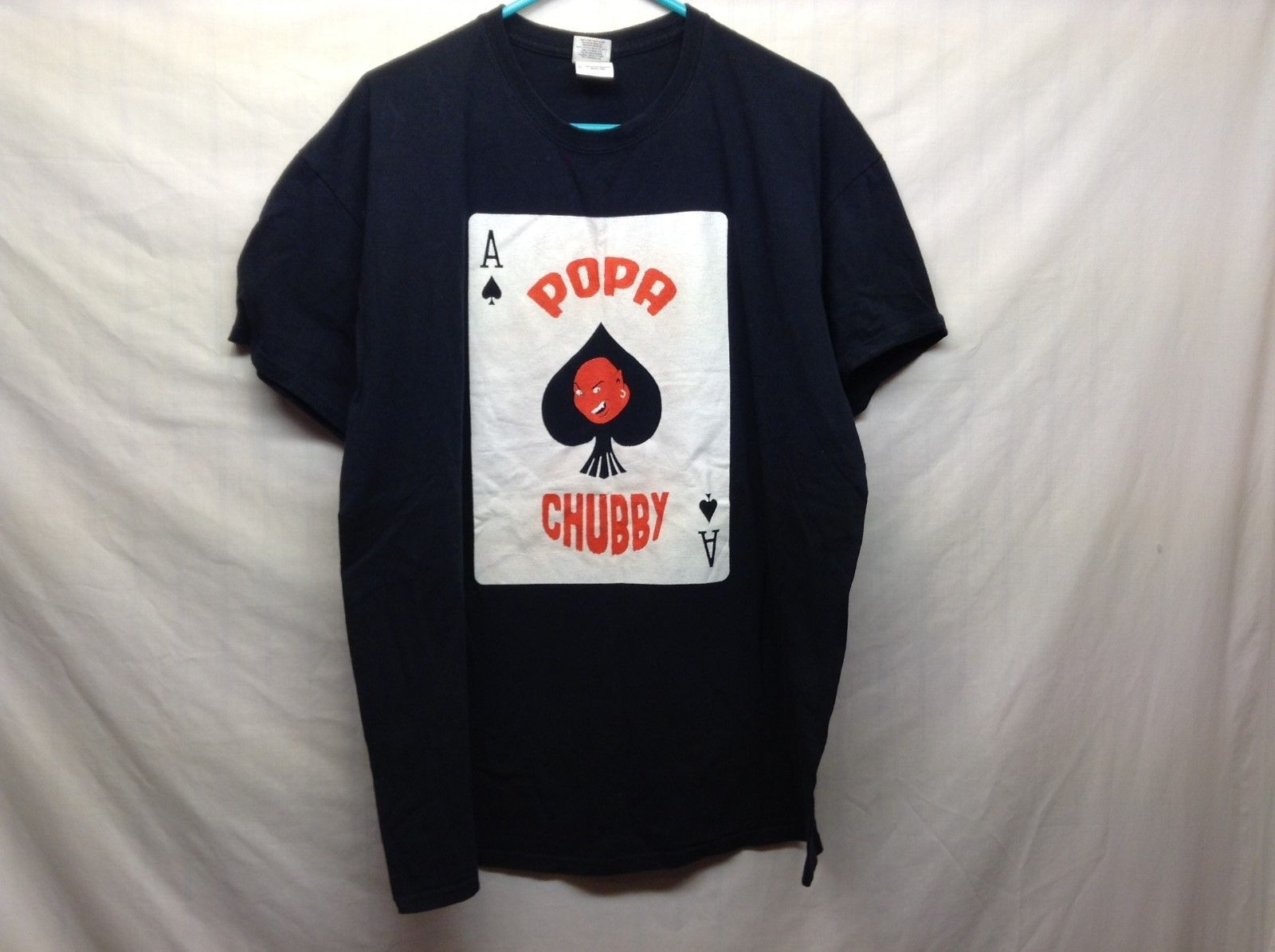Gildan Heavy Cotton Red White Ace Of Spades Popa Chubby NYC Blues Shirt Sz XL