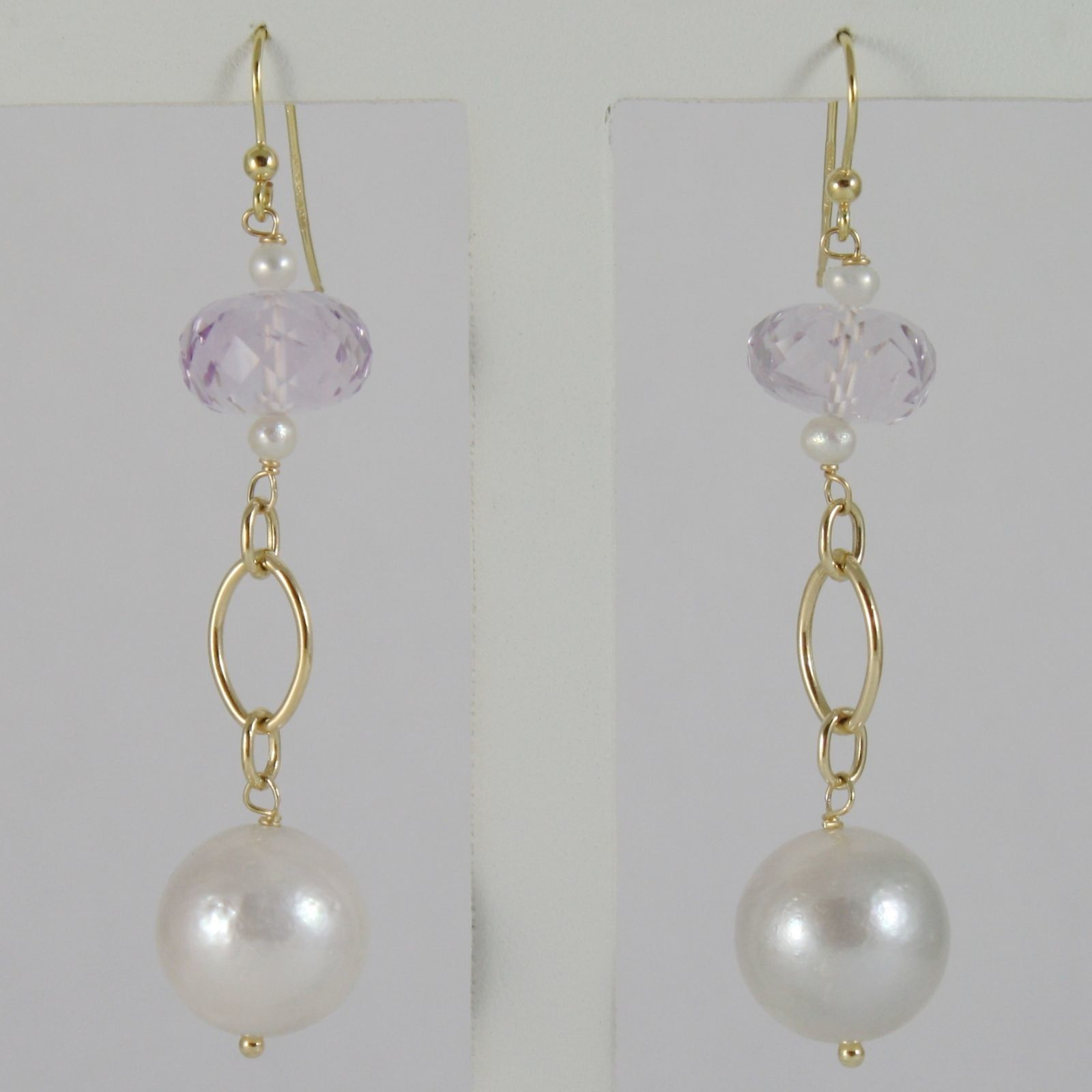YELLOW GOLD EARRINGS 750 18K HANGING 6 CM, AMETHYST CUT CUSHION AND PEARLS